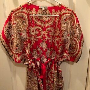 CAbi red print vintage kimono